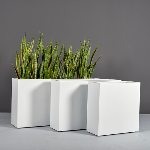 Milano Narrow Rectangular Planters with plants