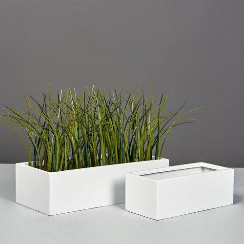 Reade Rectangle Tabletop Planters with plants