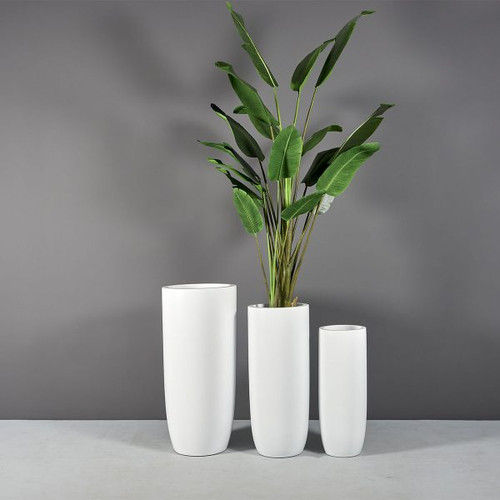 Saint Tropez Bullet Round Planters with plants