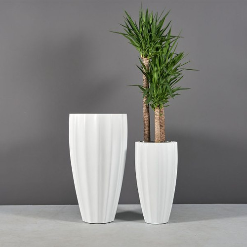 San Jose Tall Ribbed Round Planters with plants