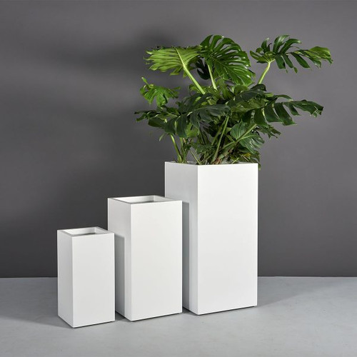 Santiago Tall Square Planters with Plants
