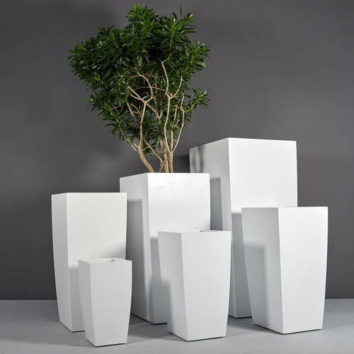 Toulan Modern Tall Tapered Square Planters with Plants