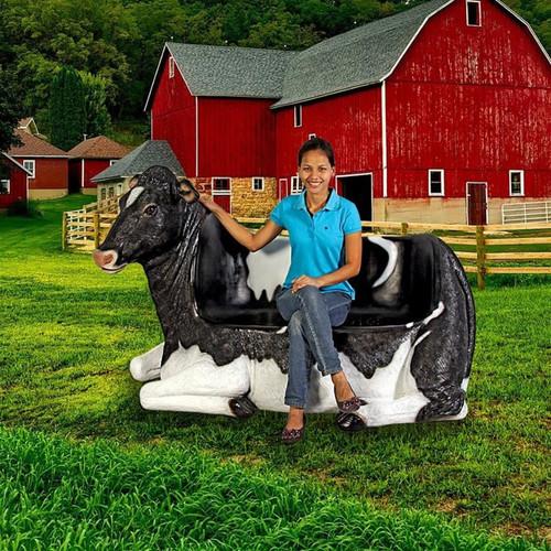 Cowch Holstein Cow Bench Sculpture at the farm