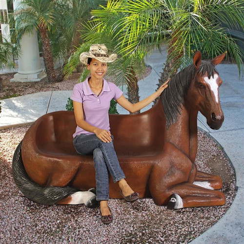 Saddle Up Horse Bench Sculpture in the Garden