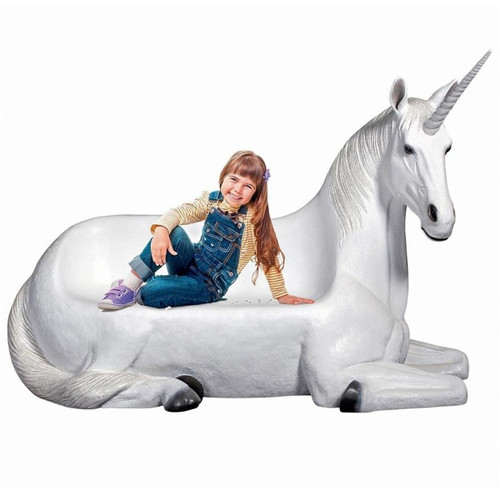 Mystical Horned Unicorn Sculptural Bench With Little Girl Sitting on it