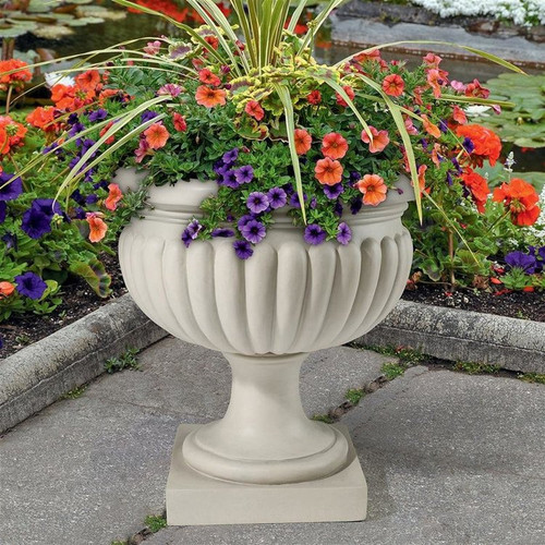 Palazzo Pitti Architectural Garden Urn Planter with Annual Combination in the Garden