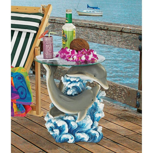 Dolphin Cove Glass-Topped Plant Stand With Drinks on Top