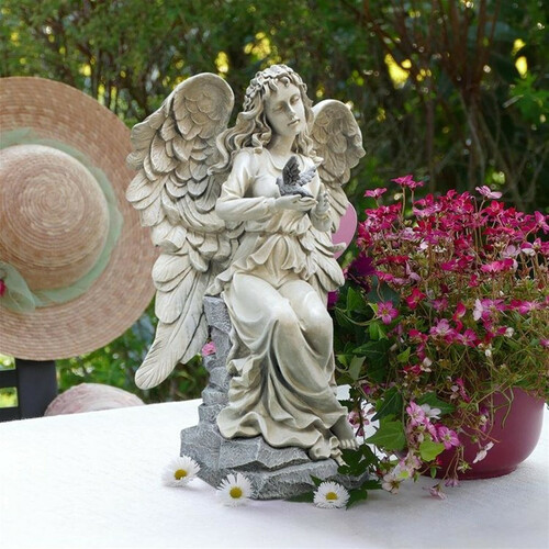 Natures Blessing Angel Garden Statue on the Patio Table