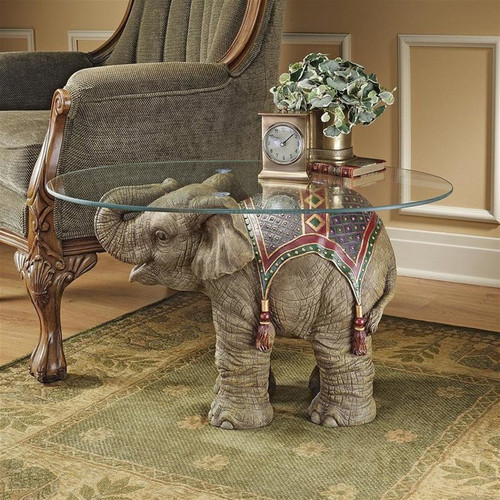 Jaipur Elephant Festival Glass-Topped Plant Stand in Living room