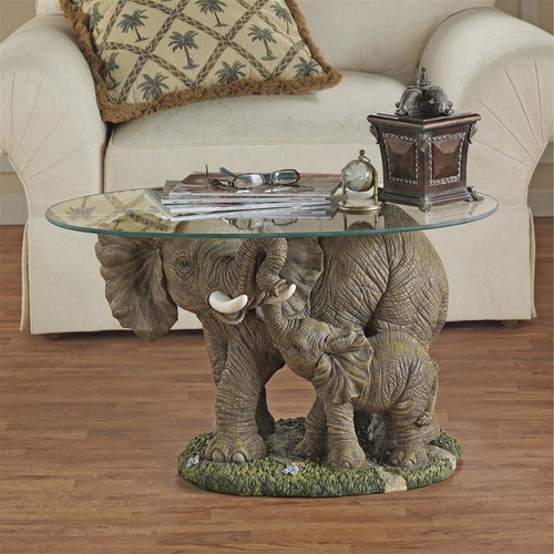 Elephant's Majesty Glass-Topped Plant Stand in the Living Room