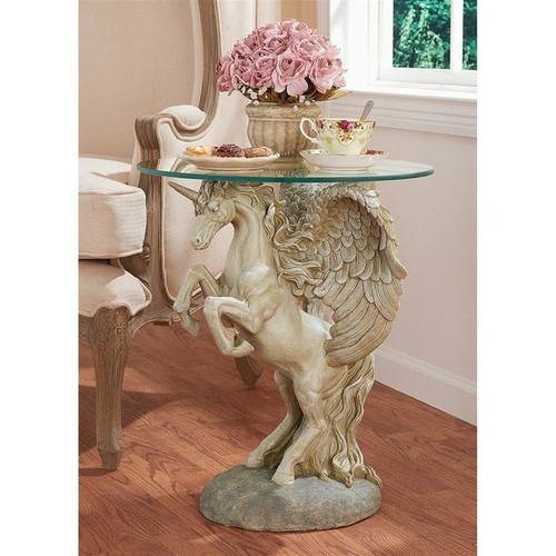 Mystical Winged Unicorn Glass Plant Stand With Flower Pot