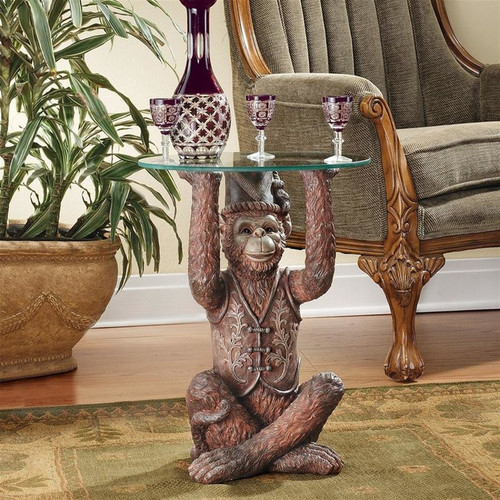 Moroccan Monkey Business Plant Stand Next to Large Planter