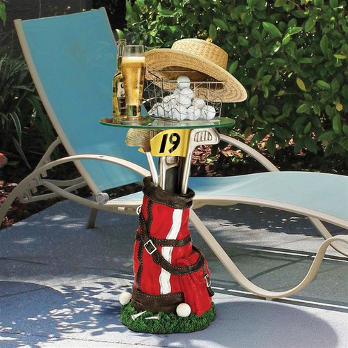 On Par Golf Bag Sculptural Glass-Topped Plant Stand on the Patio