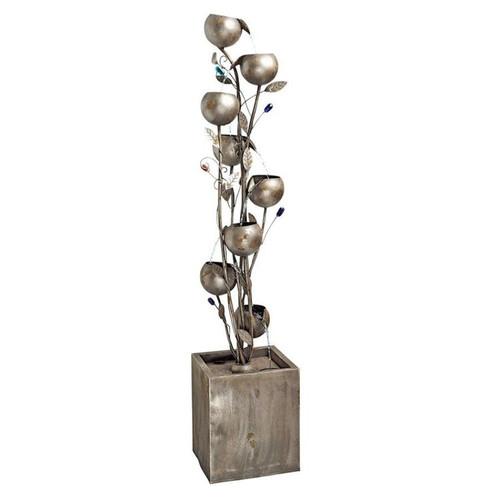 Abstract Floral Cascading Metal Tower Garden Fountain
