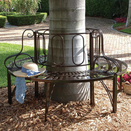 Roundabout Architectural Steel Garden Bench Around a Tree