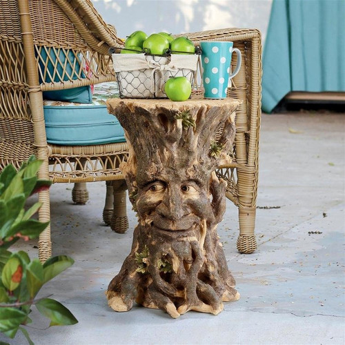 Craggy Bark Tree Ent Plant Stand on the Patio