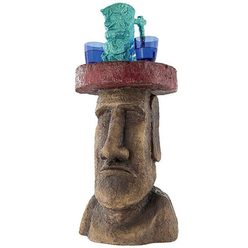 Easter Island Polynesian Moai Sculptural Plant Stand With Drinks on Top