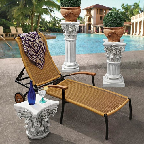 The Corinthian Pillar Large Plant Stand in the Patio With Planters on Top