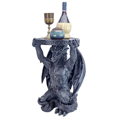 Gothic Dragon Netherley Boggs Plant Stand With Decor on Top