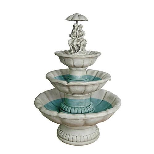 Lovers Under Umbrella Sculptural Bird Bath Water Fountain