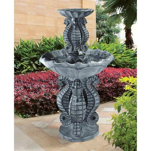 Spirit of the Ocean Two-Tier Seahorse Water Fountain in the Garden