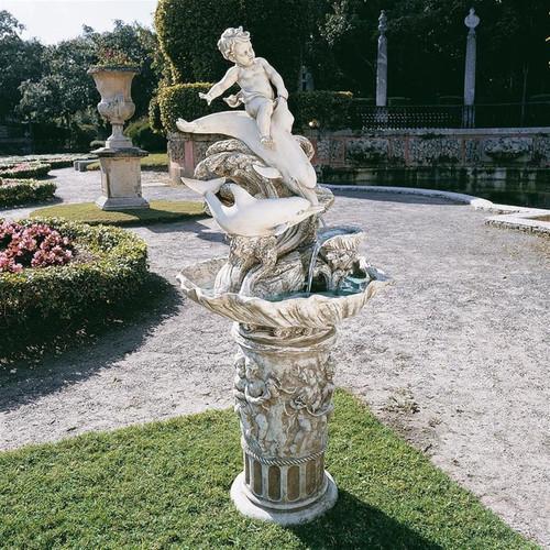 Young Poseidon Sculptural Bird Bath Water Fountain in the Garden