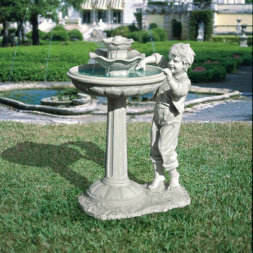 Childs Mischievous Splash Bird Bath Water Fountain in the Backyard Garden