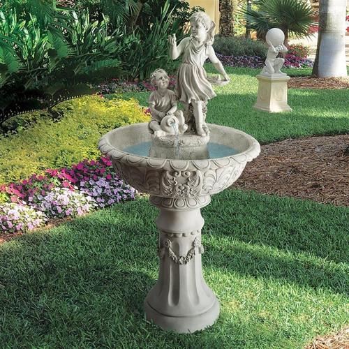 Natures Children Sculptural Bird Bath Water Fountain in the Garden