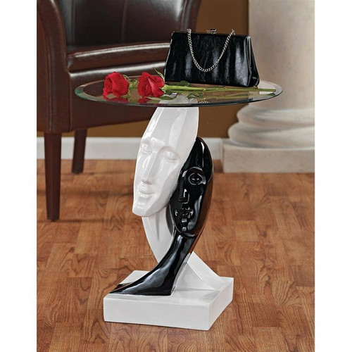 Lovers in Black and White Sculptural Glass-Topped Plant Stand