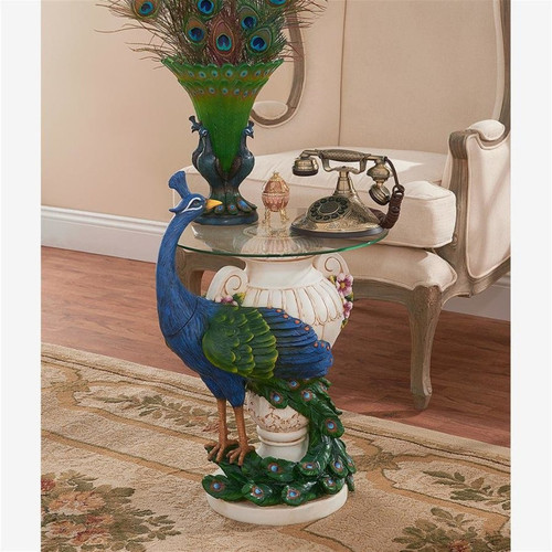 Staverden Castle Peacock Glass Top Plant Stand With Indoor Decor on Top