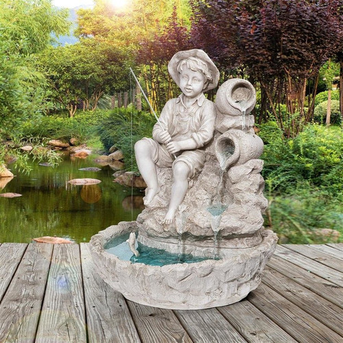 Little Fisherman at the Fishin' Hole Sculptural Water Fountain in the Garden