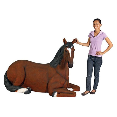 Life-Size Quarter Horse Filly Statue With Gardener