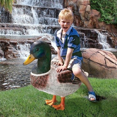 Massive Mallard Duck Statue Next To the Garden Pond