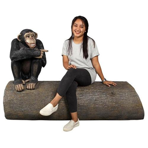 Monkey See Monkey Do Chimpanzee Garden Bench With Gardener Relaxing