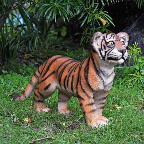 Grand-Scale Standing Tiger Cub Statue in the Garden