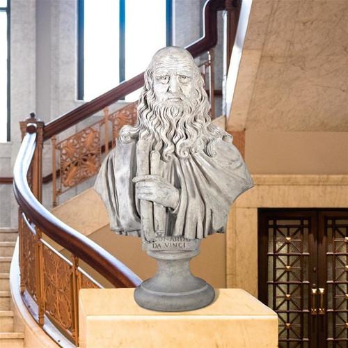Leonardo da Vinci Grand Bust Statue Indoors
