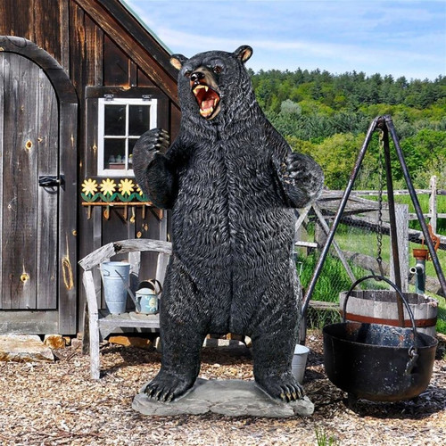 Growling Black Bear Life-Size Statue in the Garden