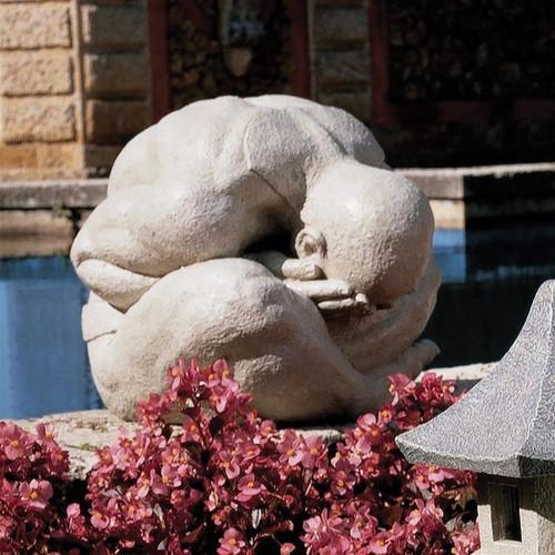 Meditating Shy Yogi of Bali Sculpture in the Garden