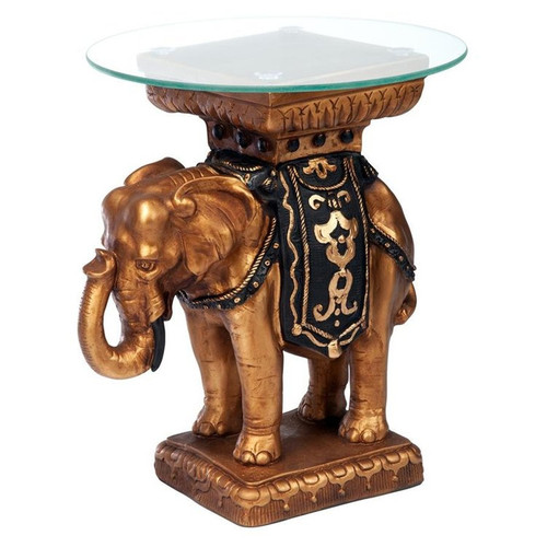 Maharajah Elephant Glass-Topped Plant Stand