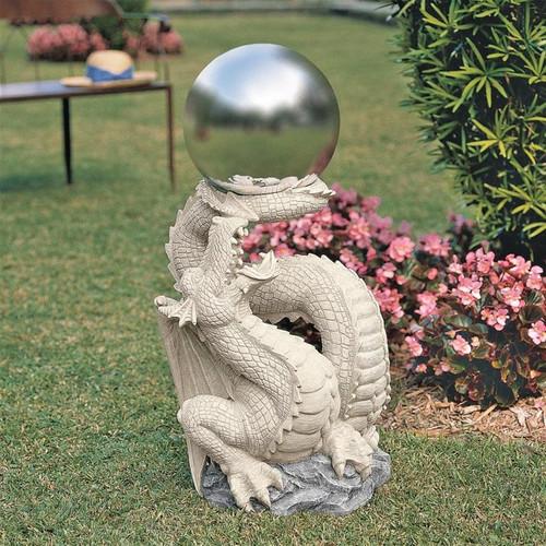 Sir Sagremor Dragon Gazing Ball Orb Garden Statue in the Garden