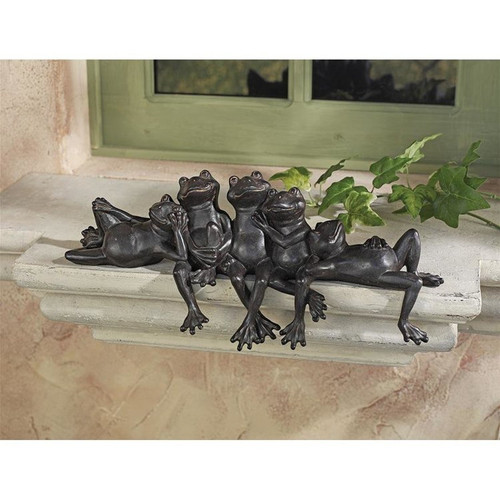 Lazy Daze Knot of Frogs Sill Sitters on the Window Sill