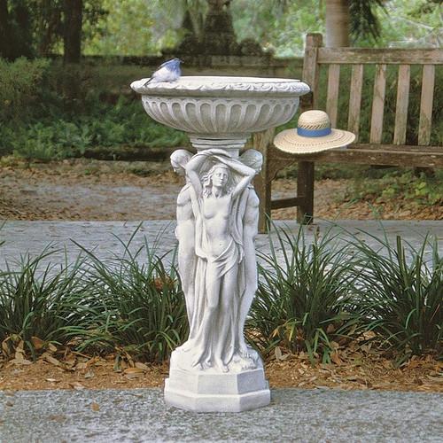 Column of the Maenads Pedestal Font Bird Bath in the Garden