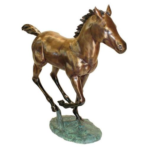 Galloping Horse Foal Cast Bronze Garden Statue