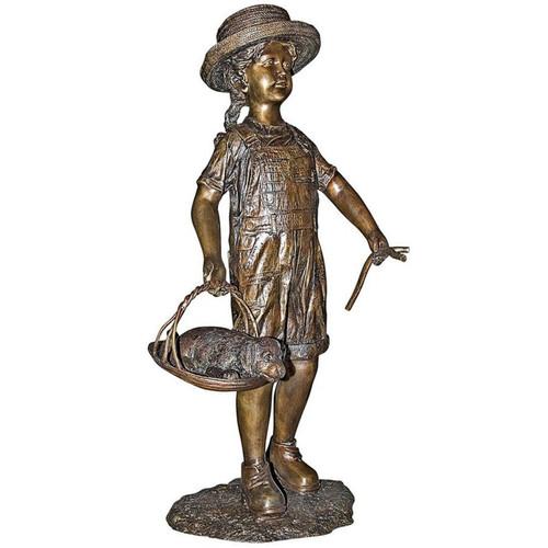 Hattie Her Puppy Girl Dog Bronze Garden Statue