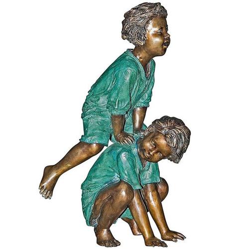 Leap Froggin Playing Boys Bronze Garden Statue
