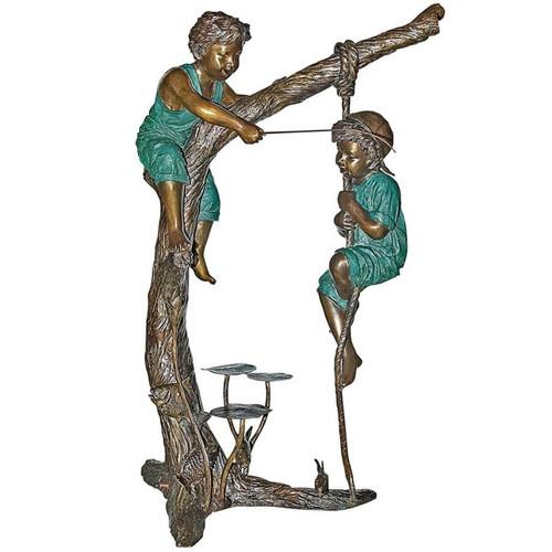Fisherman 2 Boys Tree Bronze Statue