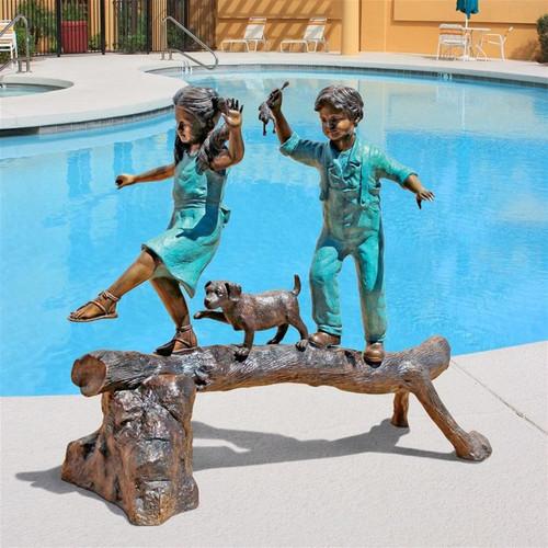 Adventure Boy Girl Log Cast Bronze Garden Statue on the Patio