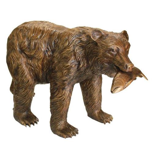 Fisherman Bear Cast Bronze Garden Statue