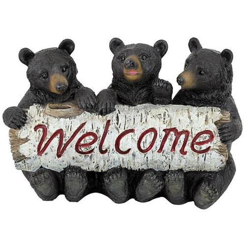 Black Bear Cubs Welcome Statue Garden Sign