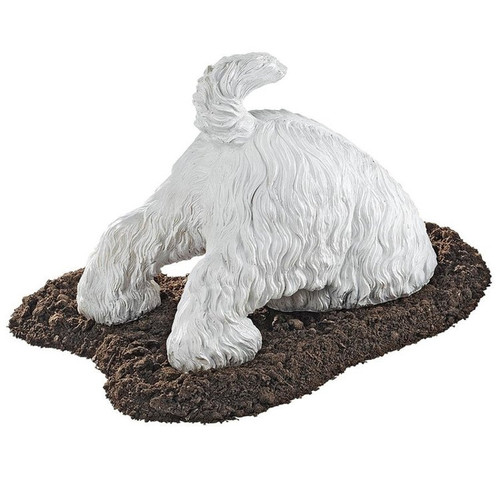 Highland Terrier Digging Dog Statue in the Dirt